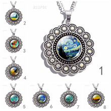 Lace-set Round Necklace Full Moon Nebula Pendant Solar System Glass Cabochon Galaxy Space Astronomy Planet