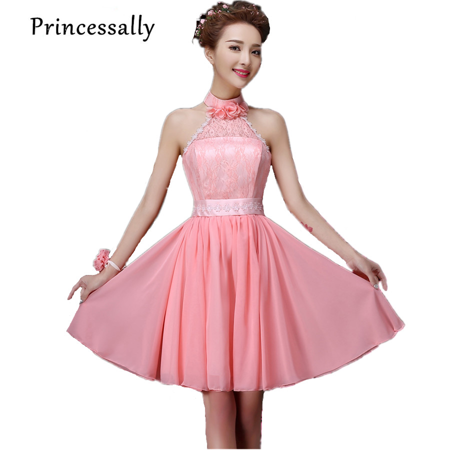Aliexpress buy jade pink bridesmaid dress short halter aliexpress buy jade pink bridesmaid dress short halter blossom bridesmaid dress chiffon lace cheap bridesmaid dresses under 50 dama dresses from ombrellifo Images