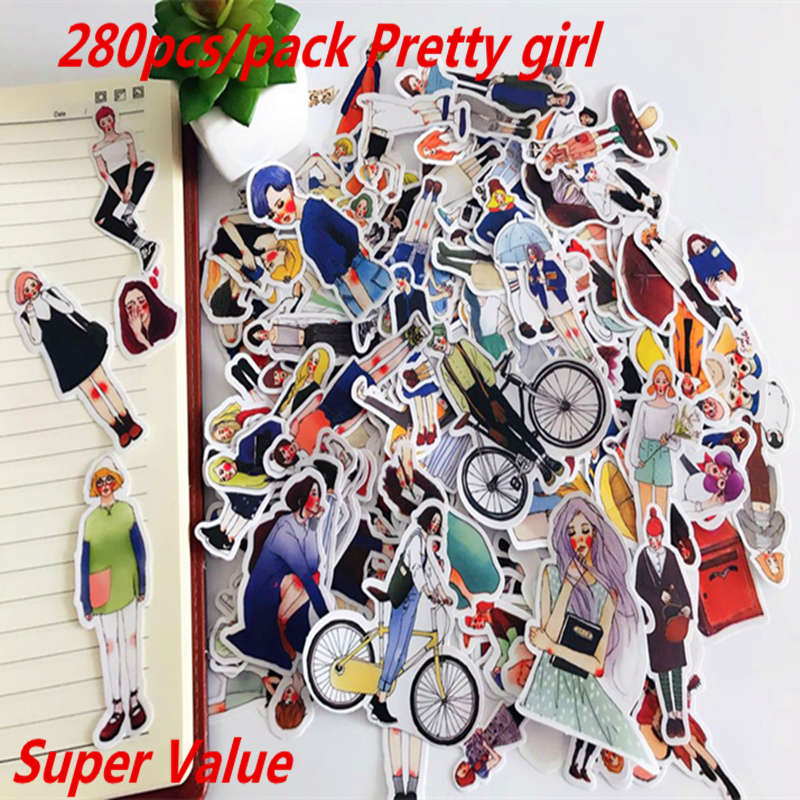 280pcs Cute Kawaii Self-made Pretty Girls Scrapbooking Stickers /Decorative Sticker /notebook Diary Welt DIY Craft Photo Albums