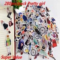 280 stks Leuke kawaii zelf gemaakte Pretty meisjes scrapbooking Stickers/Decoratieve Sticker/notebook dagboek welt DIY Craft Fotoalbums