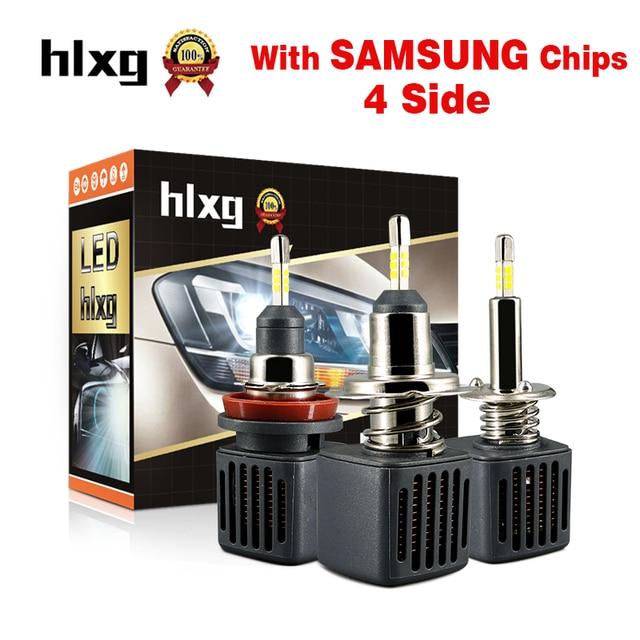 HLXG 2PCS 4 Sides Mini H4 H7 H1 LED Bulbs Car Headlight Kit 40W 10000LM SAMSUNG CHIPS H8 H11 9006 HB4 9005 HB3 12V led Auto Lamp