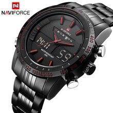 Naviforce люксовый бренд мужчины водонепроницаемый полный стали часы мужские кварцевые часы цифровой светодиодный часы мужские спортивные наручные часы relogio masculino