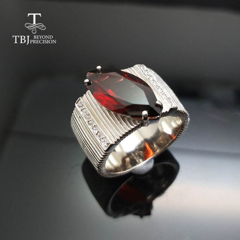 TBJ 2018 New men s ring with natural red Garnet gemstone in 925 sterling silver for