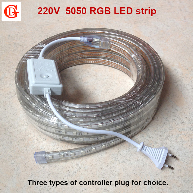 220V RGB Led Strip 5050 Waterproof Led Verlichting Neon Light +Power ...