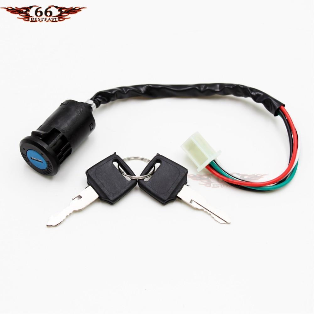 4 wires w key ignition switch go kart motorcycle pit pocket bike wire key ignition switch super pocket electric bike atv mini chopper [ 1000 x 1000 Pixel ]