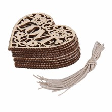 Newest 10pcs/set Love Heart Shapes Wooden Embellishment Christmas Tree Hanging Ornament for Tags Card Scrapbooking Xmas Decor