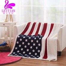 130 cm * 160 cm Diseñador Manta de Lana Mantas de British American Flag Adolescentes Niños Adultos Snuggie Mantas