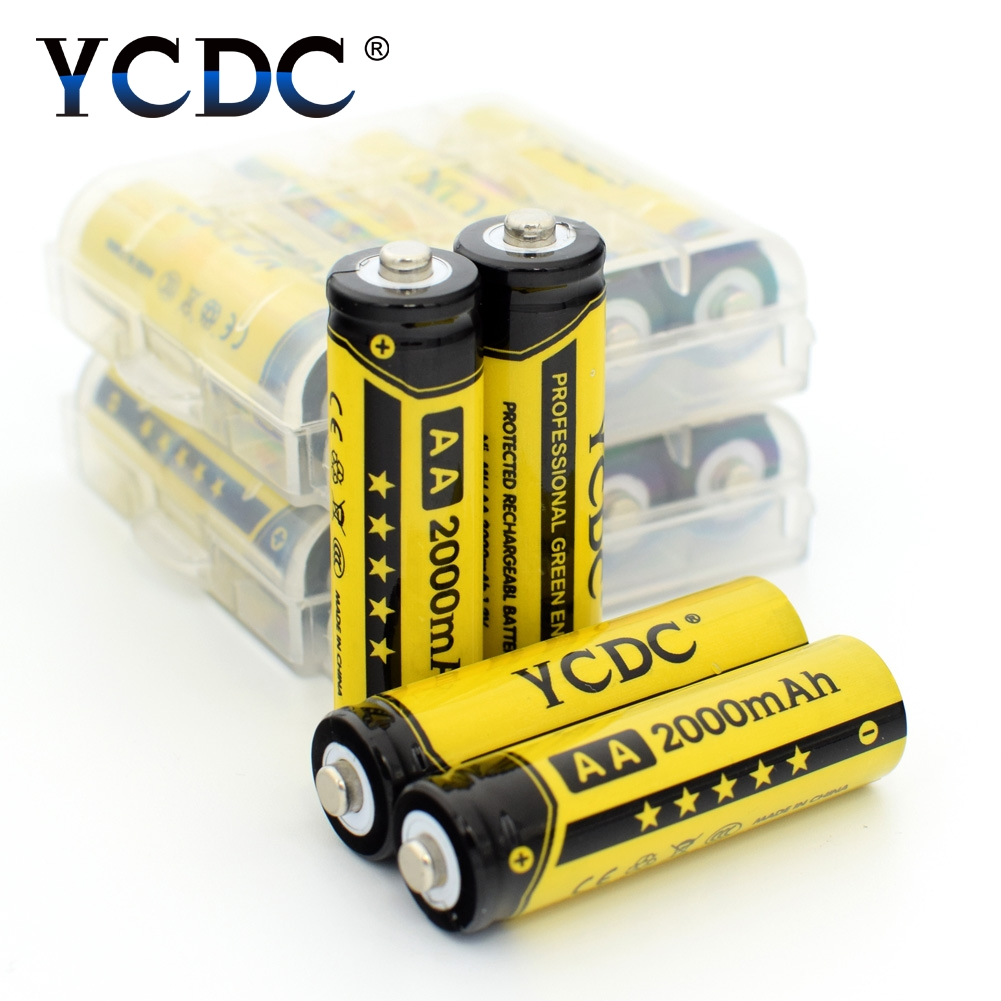 YCDC Hot! 4pcs YCDC 1.2V AA 2000 mAh Ni-MH Rechargeable Battery EE6338 ycdc 4pcs aa rechargeable battery 2000 mah for charger 1 2v ni mh flashlight rechargeable batteries with batery box