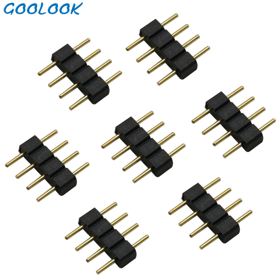 5pcs/lot, 4pin 4pin RGB <font><b>Led</b></font> <font><b>connector</b></font>, 4 <font><b>pin</b></font> needle, male type double <font><b>5</b></font> <font><b>pin</b></font>, for 3528 2835 5050 RGB RGBW <font><b>LED</b></font> <font><b>strip</b></font> <font><b>connector</b></font> image