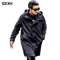 large size 5XL 6XL Men's Long trench Coat Autumn jacket Men's Casual Black Hooded Park Windbreaker College Bomber Jacket