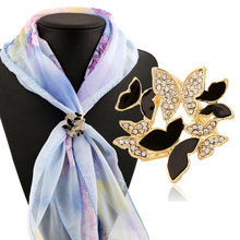 Korean Fashion Butterfly Brooch Scarf Buckle Crystal Tricyclic Oil Drip Scarf Buckle Clip Valentines Gift Wholesale