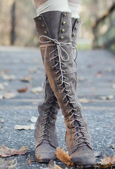 gris Haute Genou Filles Muje Carrés Croix Chaussures Low Liée Talons Bottes marron Chaussons Up Moto Lace Femme Rivets Botas Zapatos Dames Noir Zip qBPwd5q