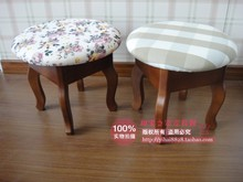 American rural countryside all solid wood stool changing his shoes stool stool child grid / fabric