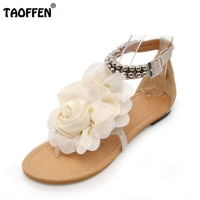 Big size 34-43 Gladiador Sandálias para As Mulheres Boemia Frisado Flor do Verão Salto Plana Chinelos Sapatos femininos Tstraps Sandálias