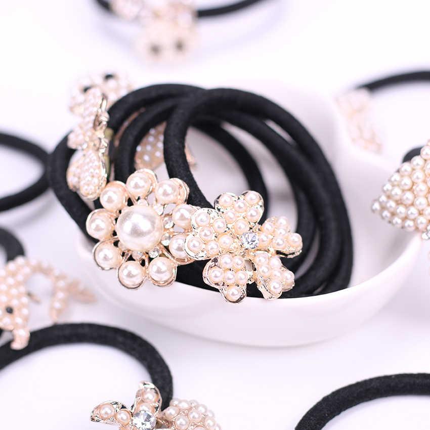 1PC Fashion Cute Hair Accessory Shiny Pearls Headbands Ponytail Holder Girls Scrunchies Elastic Hair Rubber Rope Headdress