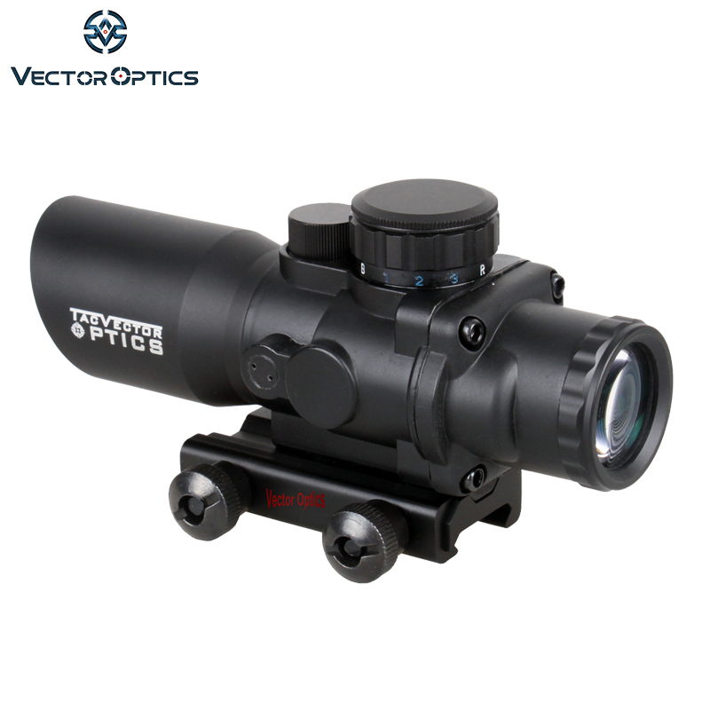 Ótica do vetor Talos 4x32 Chevron Retículo Riflescope Tático Compacto Prisma Visão Tri-Iluminação M4 AR15. 223 Escopo
