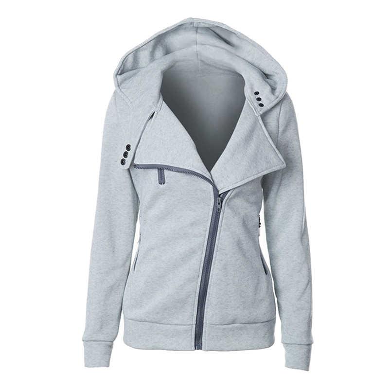패션 후드 티 스웨터 여성 긴 소매 후드 재킷 지퍼 후디 점퍼 오버 코트 Outwear 하라주쿠 여성 스웨터