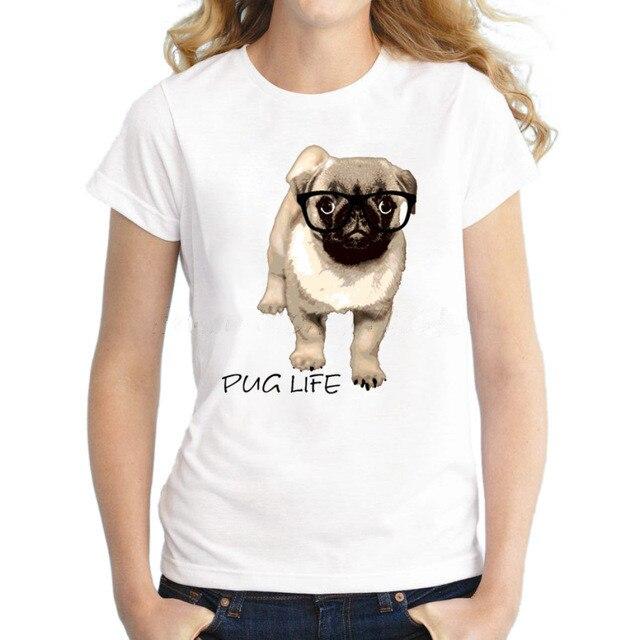 Pug Indossando Occhiali stile animale sveglio t-shirt Vintage manica corta casual lady tops Pug Life design retro novita tee