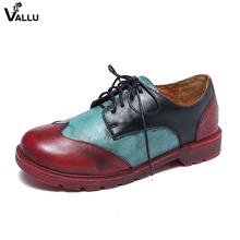 2018 VALLU Handmade Women Flats Lace Up Mixed Color Genuine Leather Vintage Style Ladies Casual Shoes Oxfords