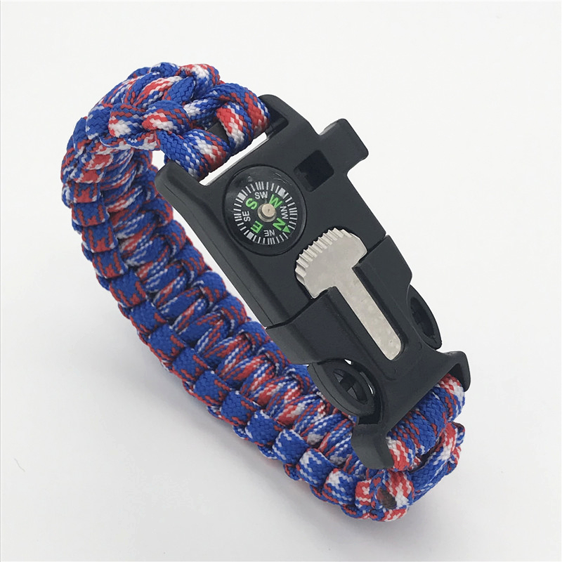 Outdoor Safety Survival Paracord Bracelet Whistles Compass Multi Functional Emergency Camping Hiking Parachute Without Flint
