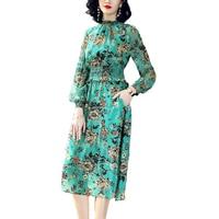 Fashion Woman 100% Natural Silk Lady Dress Green color Woman Mid Calf Length O Neck Flower Print Female Spring Women Dresses XL