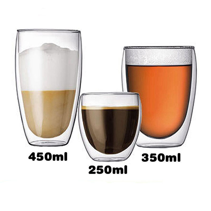 High Borosilicate Heat Resistant Whisky Glass Cups Double Wall Glass Coffee Cup Drinking Milk Tea Cup tasse double paroi verre in Coffee Cups Mugs from Home Garden