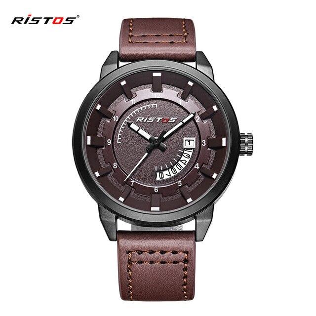 3c6a9b8cccd9 RISTOS Fashion Men Sport Watch Genuine Leather Quartz Watches Date Calendar  Male Wristwatch Hombre Reloj Masculino Hombre 9335