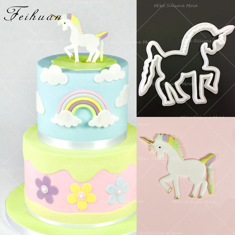 Feihuan 1pcs Christmas Unicorn Cookie Cutter 3D Pastry Biscuit Fondant Cake Baking Mold DIY Birthday Decorating Tools