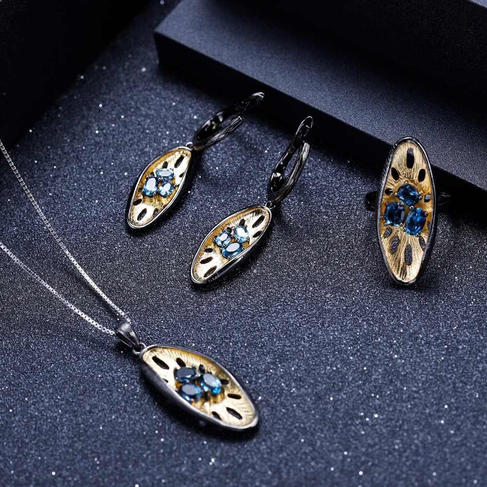 Gem47s ballet 1.47ct natural londres azul topázio 925 prata esterlina pedra preciosa brincos de gota feitos à mão brincos de limão para mulher