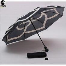 Небольшой ароматный зонтик дамы Автоматический алюминиевый сплав сильный Рамка три складной компактный большой дождь зонтик большой цветок