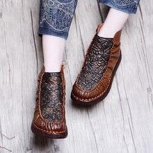 2017 nueva suela suave de las mujeres de invierno botas planas de cuero genuino cómodo de tacón bajo botas hechas a mano de la flor de la vendimia grande 41 tamaño