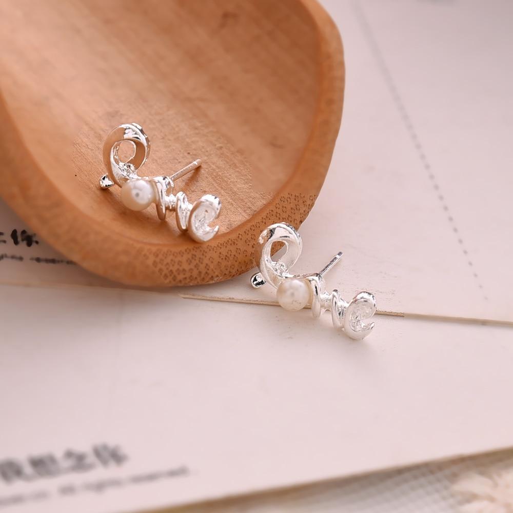 2016 Simple Fashion Women Pearl Jewelry Stud Earrings Gold Plated Silver Love Letter Pearl Earrings Pendientes Mujeres gold earrings for women
