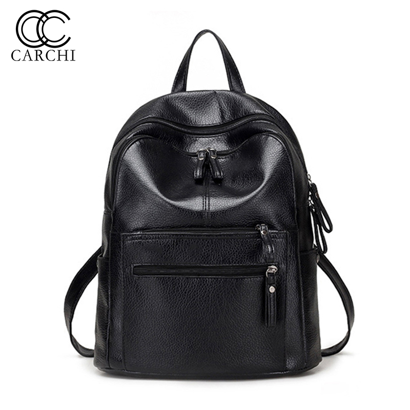 CARCHI Women PU Leather Backpacks Female Black Backpack School Bag For Teenage Girls Large Capacity Shoulder Travel Mochila women s backpacks genuine leather female backpack women school bag for girls large capacity shoulder travel mochila