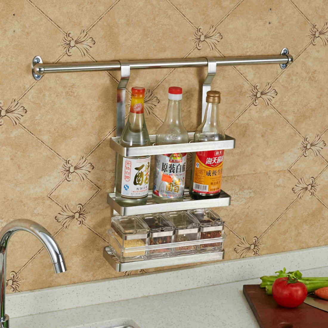 Tssaag Three Layer Stainless Steel Hanging Spice Rack Wall