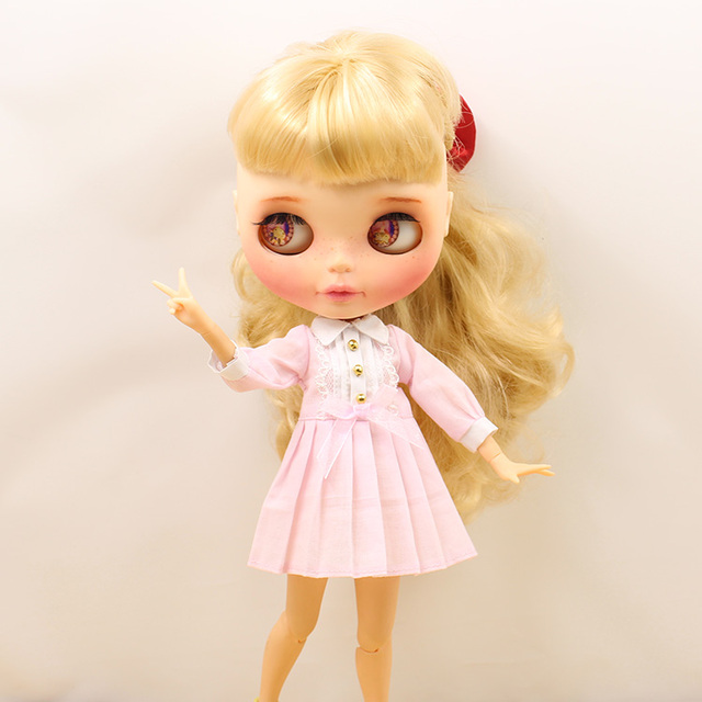 Neo Blythe Doll Blue Pink Long Sleeves Autumn Dress