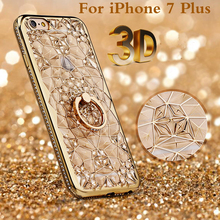 Luxury 3D Crystal Flower 24K Gold plating Phone Case for iPhone 7 plus Diamond Ring holder soft TPU Shockproof Cover 7plus