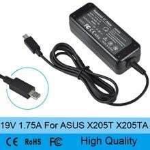 19 V 1.75A 33 W AC Laptop Cable de alimentación adaptador de cargador de batería para Asus Eeebook X205T X205TA alta calidad