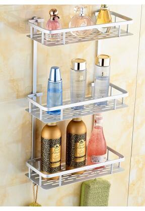 L'étagère de salle de bain à ventouse reçoit l'étagère de salle de bain en 3 couches de poinçonnage - 2