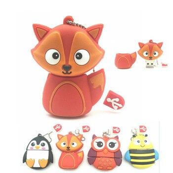 2018 New cute penguin owl fox pen drive cartoon usb flash drive pendrive 4GB/8GB/16GB/32GB U disk animal memory stick gift