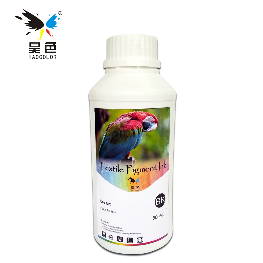 500ML black Color Digital Textile pigment Ink garment ink For Epson Printer Dtg Ink pure cotton T-shirts and fabrics hot sale 1000ml roland mimaki mutoh textile pigment ink in bottle color lc for sale