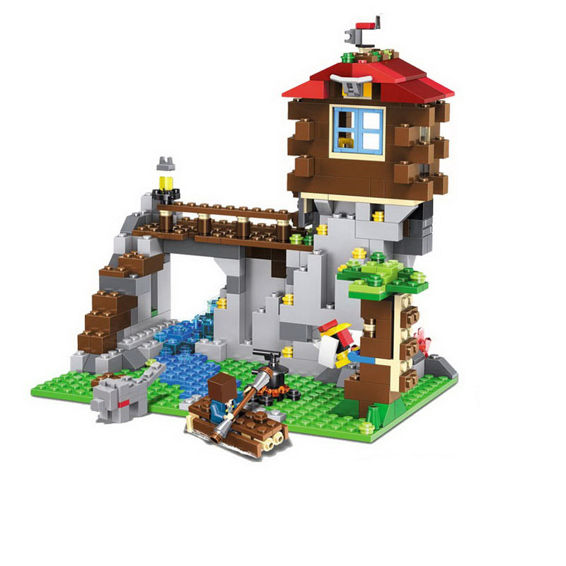 LELE 33018 592pcs My World Minecraft Mountain Hut Building Blocks Bricks anime action figures Toys For Children gifts brinquedos