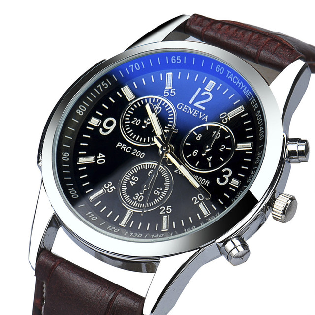 Fashion Faux Leather Mens Analog Quarts Watches Blue Ray Men Wrist Watch 2018 Me