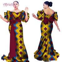 African Dresses for Women Lady Floor Length Slim Dresses Off the Shoulder Short Sleeve Bazin Riche African Print Dresses WY2664