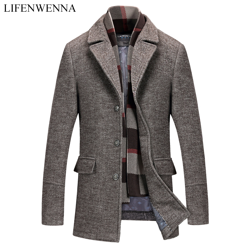 2019 New Arrival Winter High Quality Wool Casual Gray Trench Coat Men Men's Winter Warm Coat Slim Fit Wool Blends Jackets Coat(China)