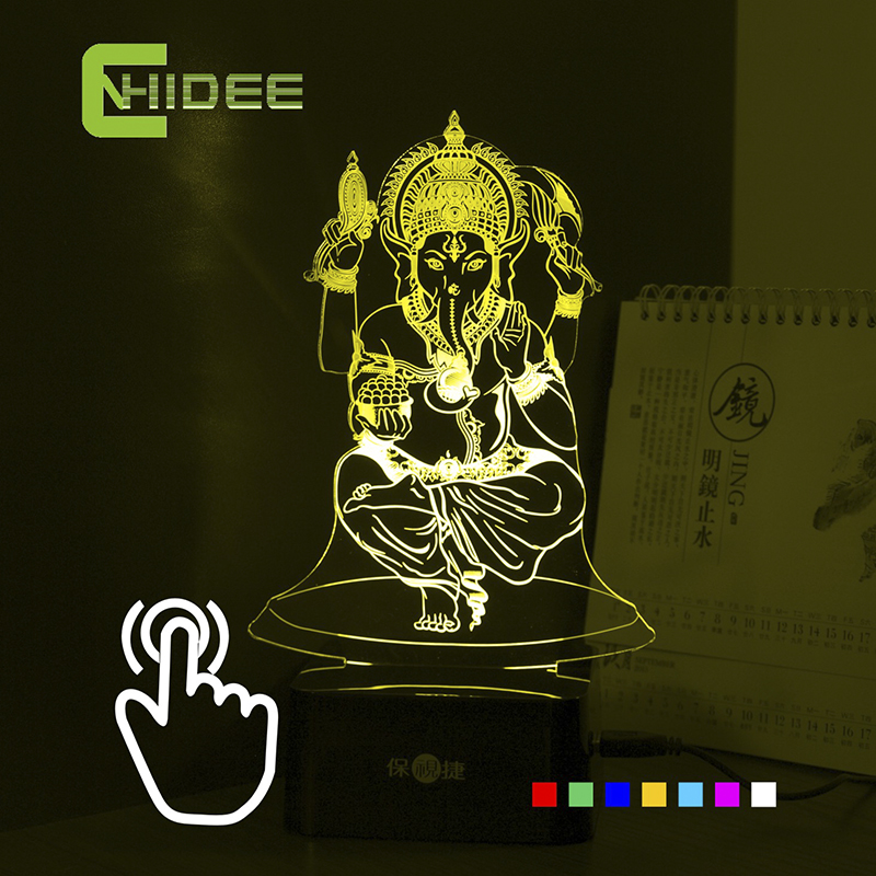 ФОТО 7 Colors USB 3d Nightlight for India Lord Ganesha LED RGB Touch Table Lamp Holiday Atmosphere Night Lights Lampara Touch Night