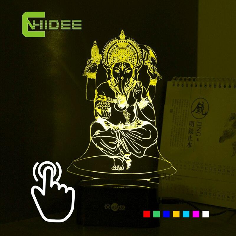 7 Farben USB 3d Nachtlicht für Indien Lord Ganesha LED RGB Touch Tischlampe Urlaubsatmosphäre Nachtlichter Lampara Touch nacht