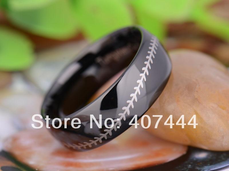 Mens Titanium Baseball Wedding Ring with Orange Stitching 8mm 6.5