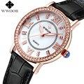 WWOOR Brand Genuine Leather Strap Czech Diamonds Women Casual Dress Watch Ladies Quartz Watch Women Wristwatch relogio feminino