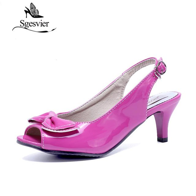 34759653118 SGESVIER Women Sandals womens sexy peep toe low heel sandals bow slingbacks  women summer sandals shoes size 13 14 15 34-46 OX010
