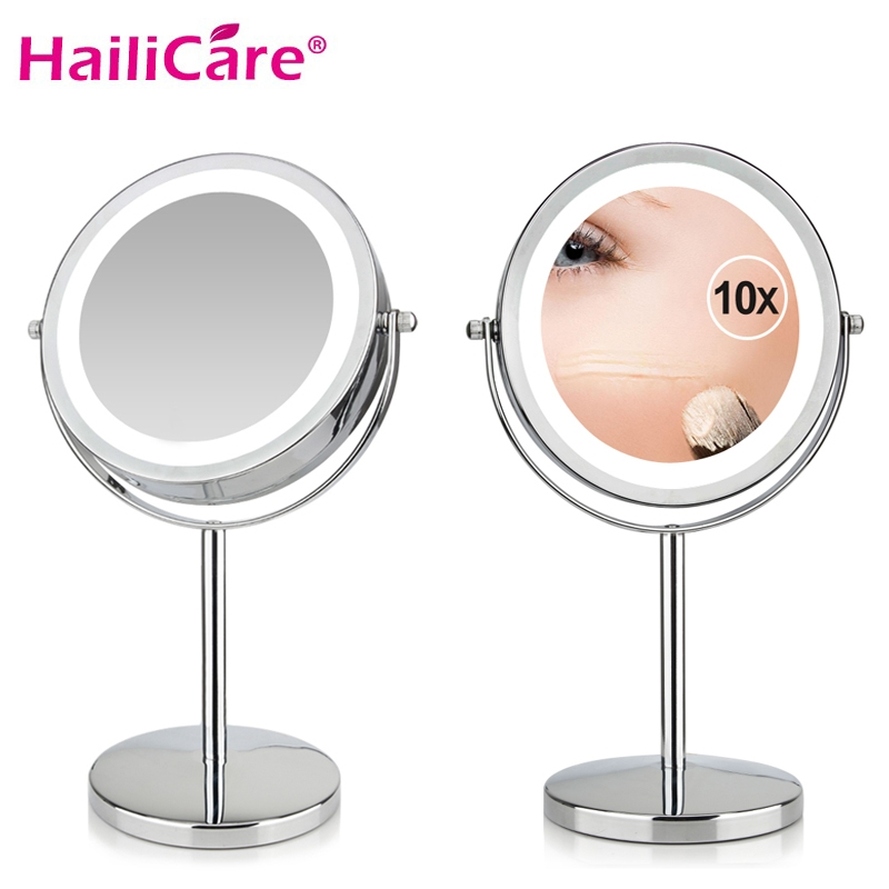Professional 17 LEDs Light Vanity Mirror 10X Magnifying Adjustable Makeup Mirror 7 Inch Cosmetic Mirror Double